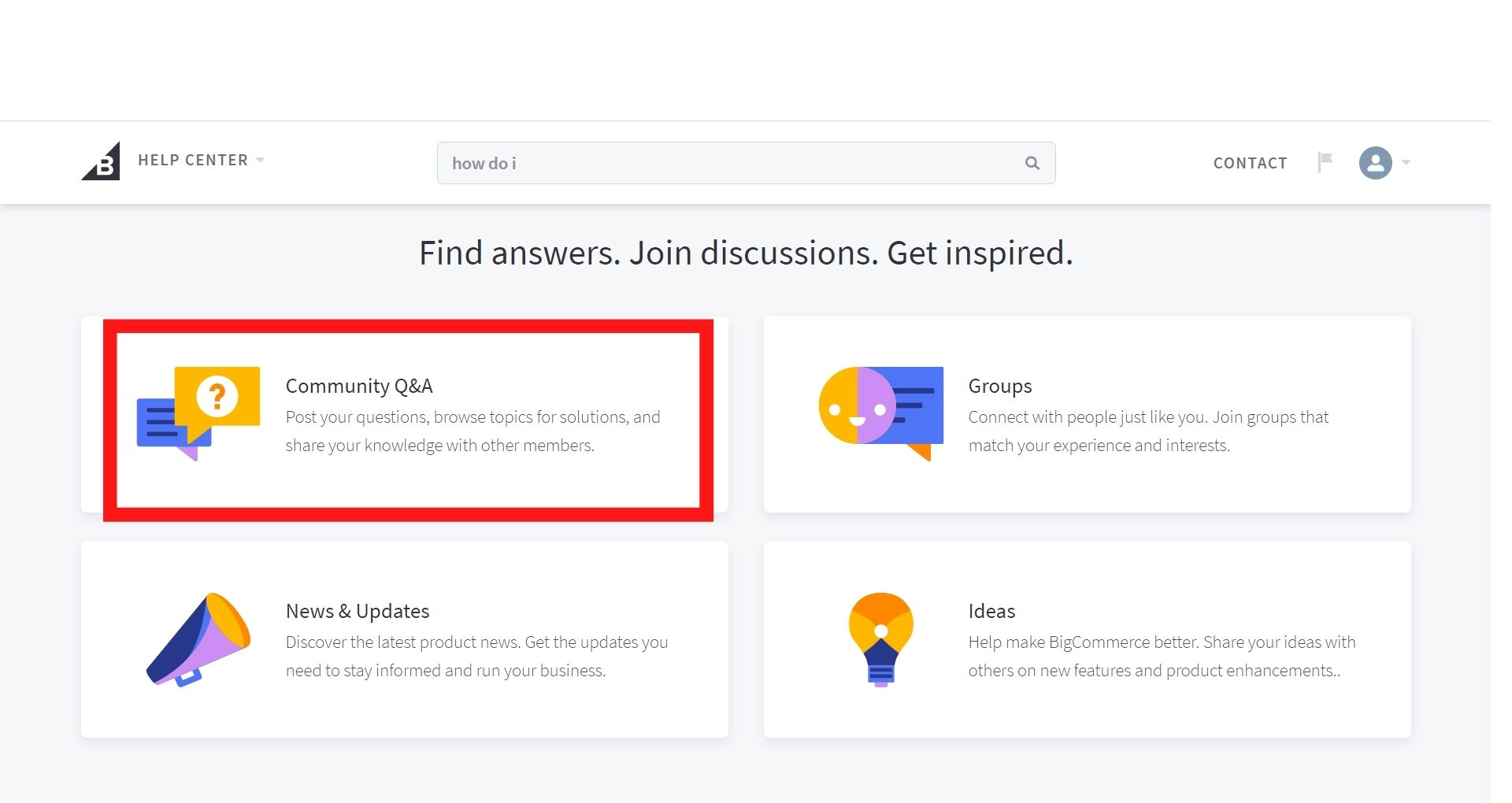 Get support from BigCommerce community