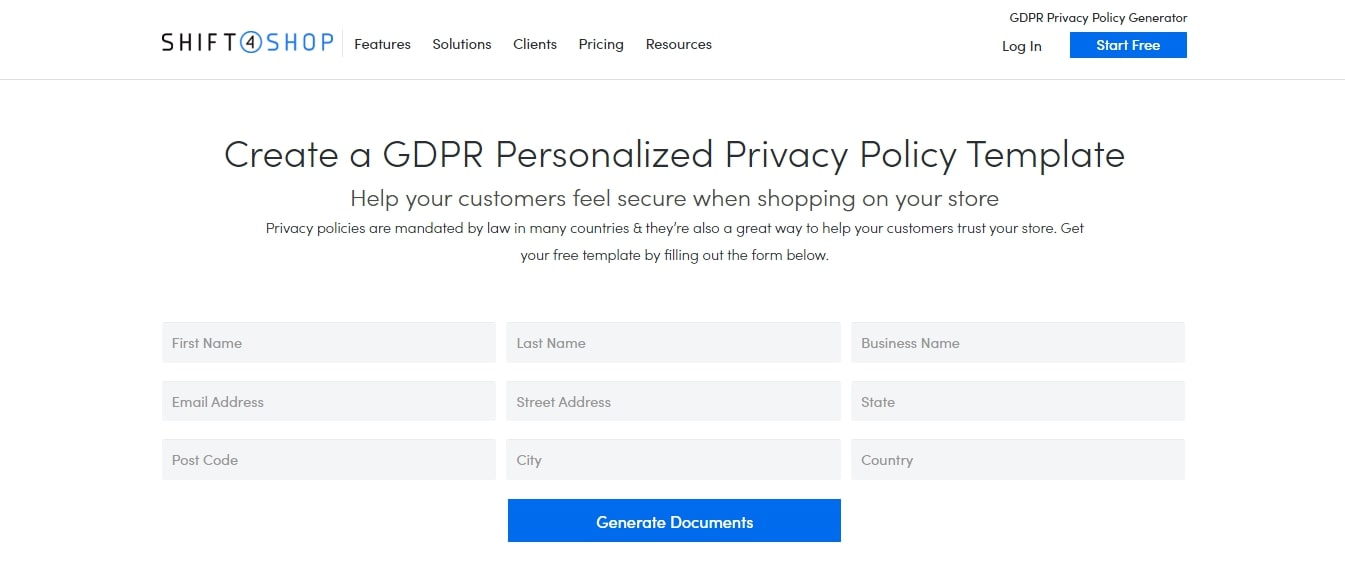 Shift4Shop Personalized Privacy & Return Policy Generator