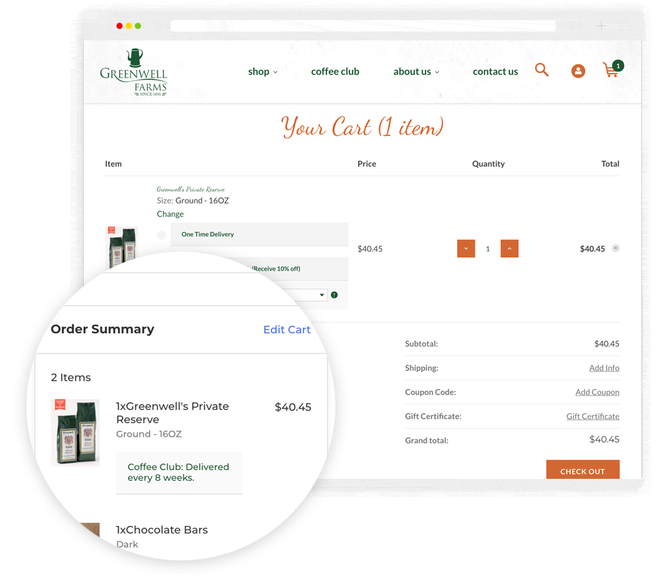 Integrated Shopping Cart to Maximize Subscription Conversion