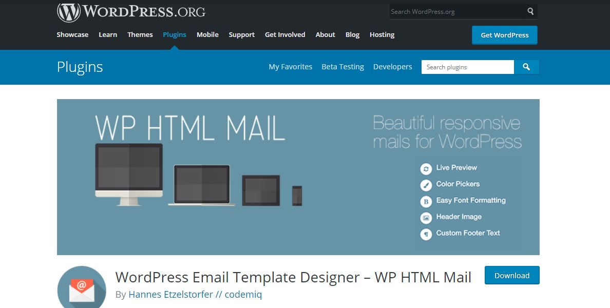 example of WP HTML Mail - Email Designer