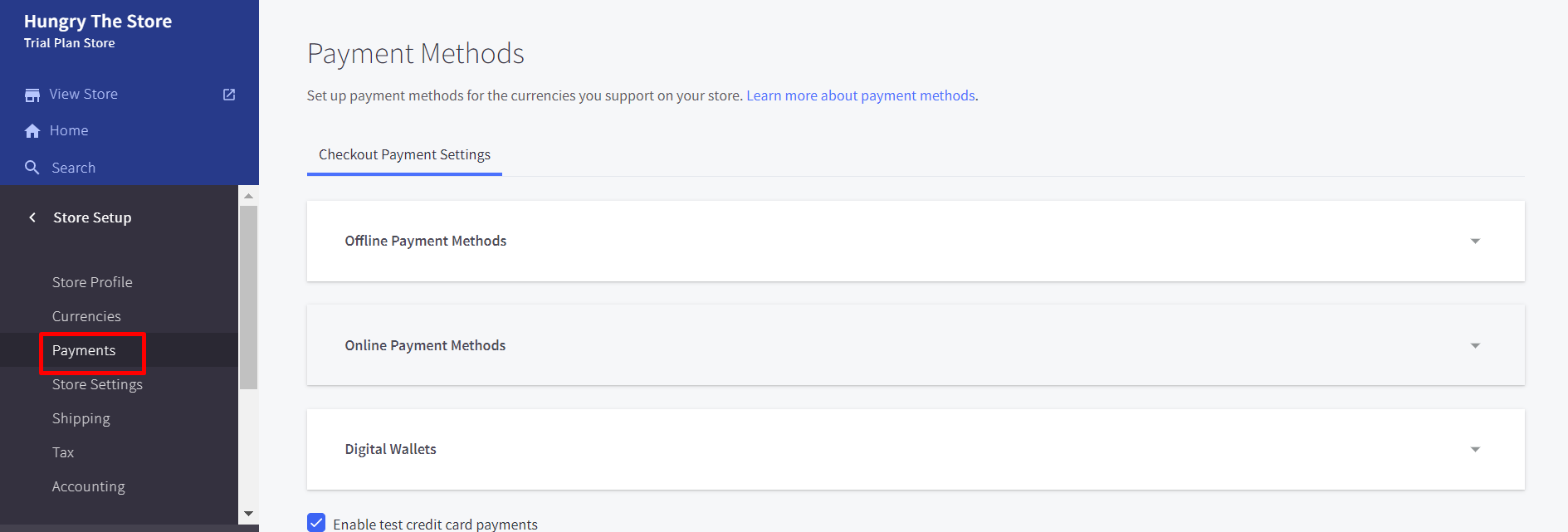 Set up the payment methods