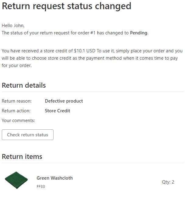 The Status of Return Request