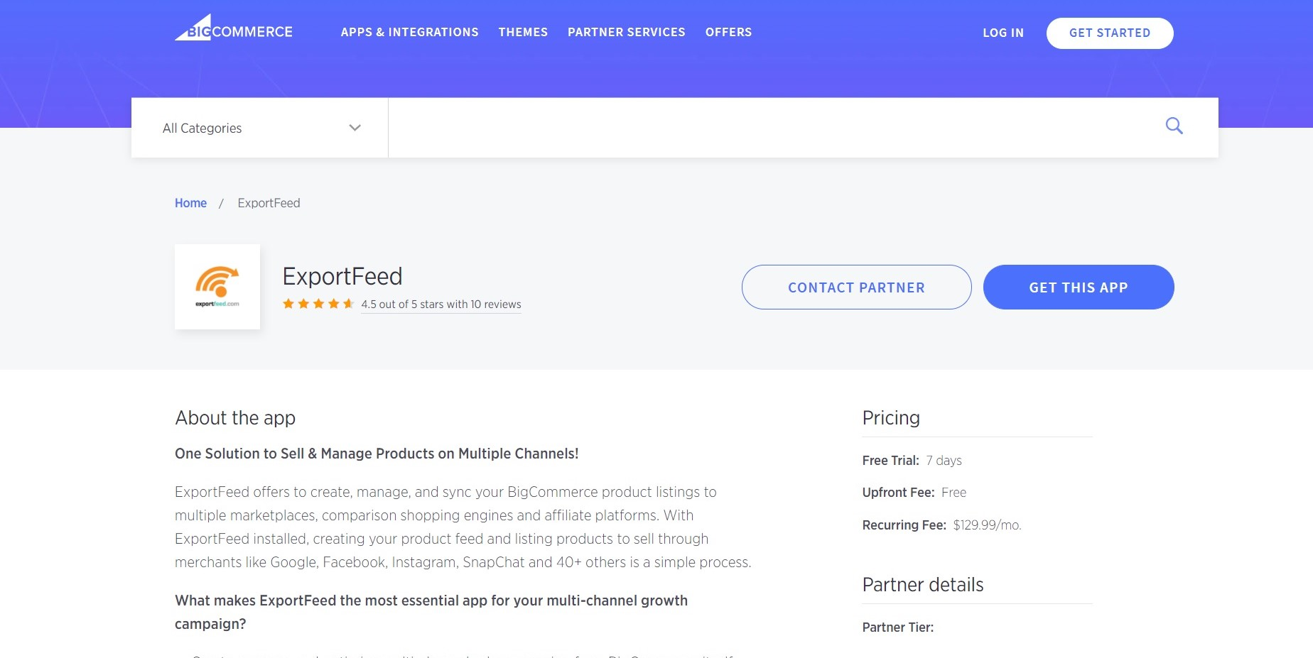 Download ExportFeed from the BigCommerce App Store