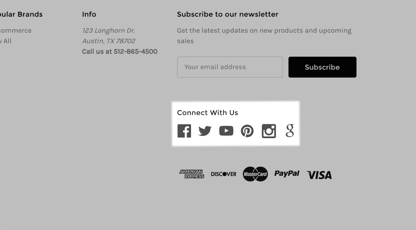 Attach your social media contacts so customers can follow you and stay updated about your store