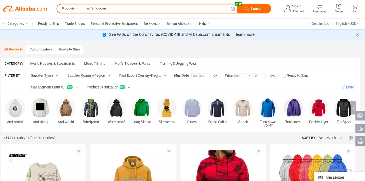 Search for products on Alibaba