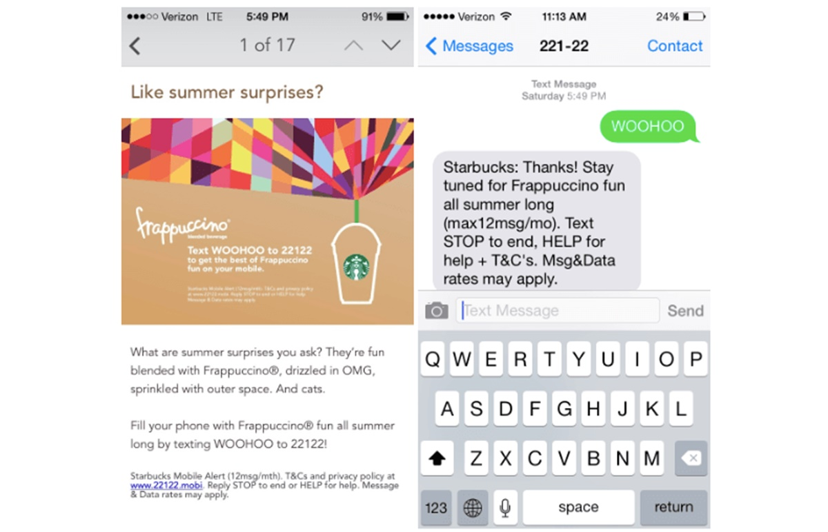 Starbuck marketing SMS