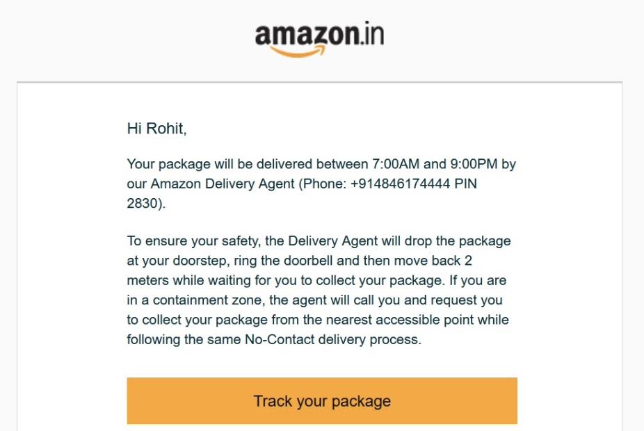 Order update emails