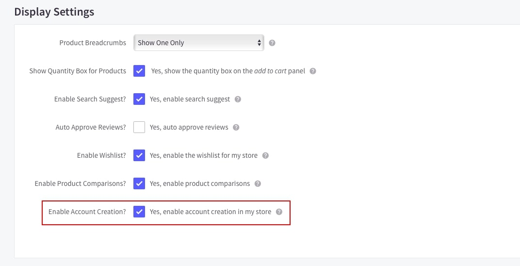 Enable Account Creation