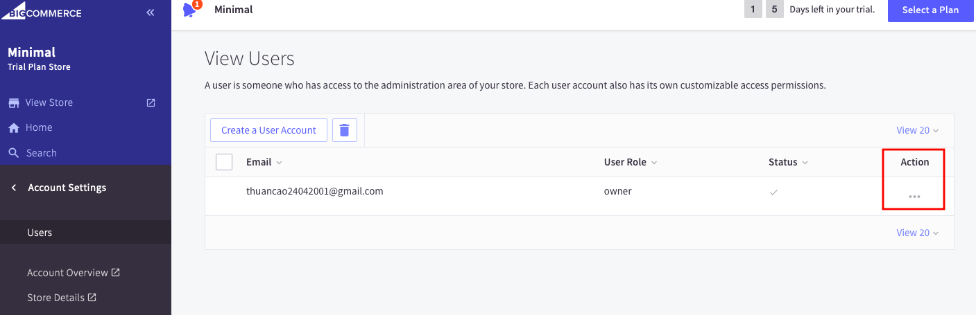Choose the segments of the permissions being in the creating user