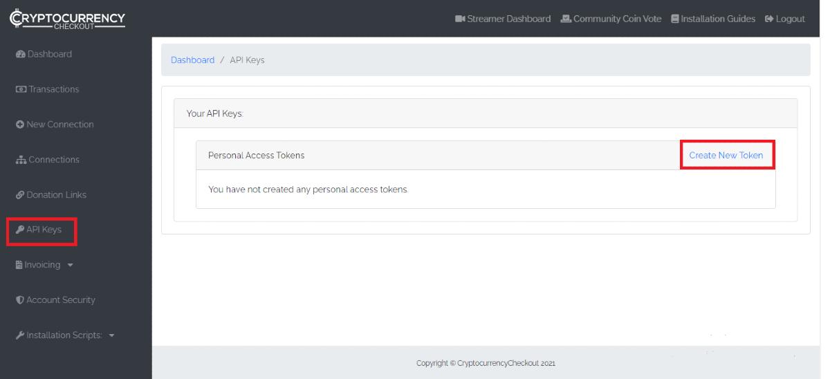 Create API Keys