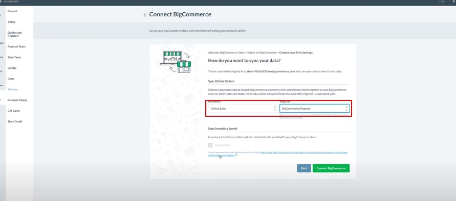 Follow the BigCommerce steps to sign in to your BigCommerce Account