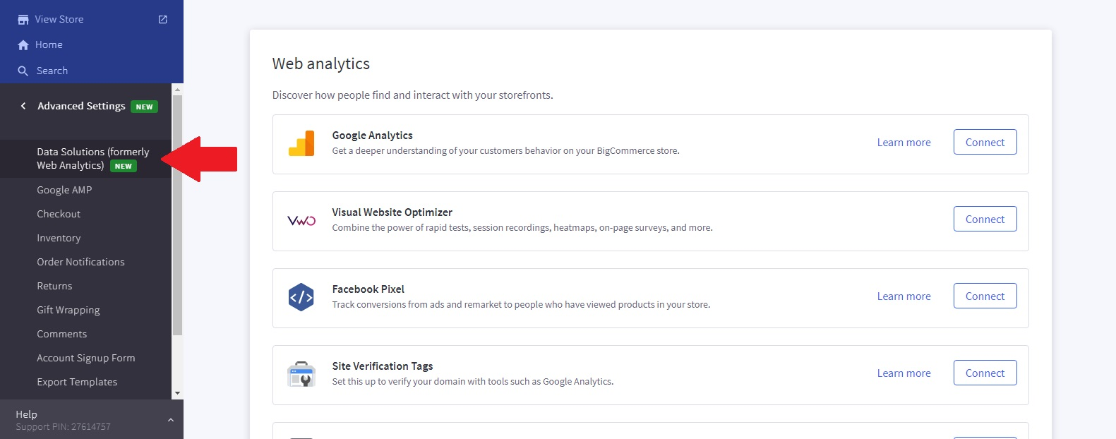 BigCommerce Web Analytics page