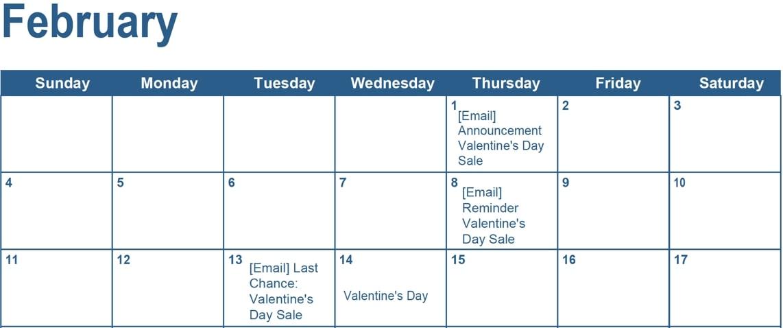 Email marketing calendar example