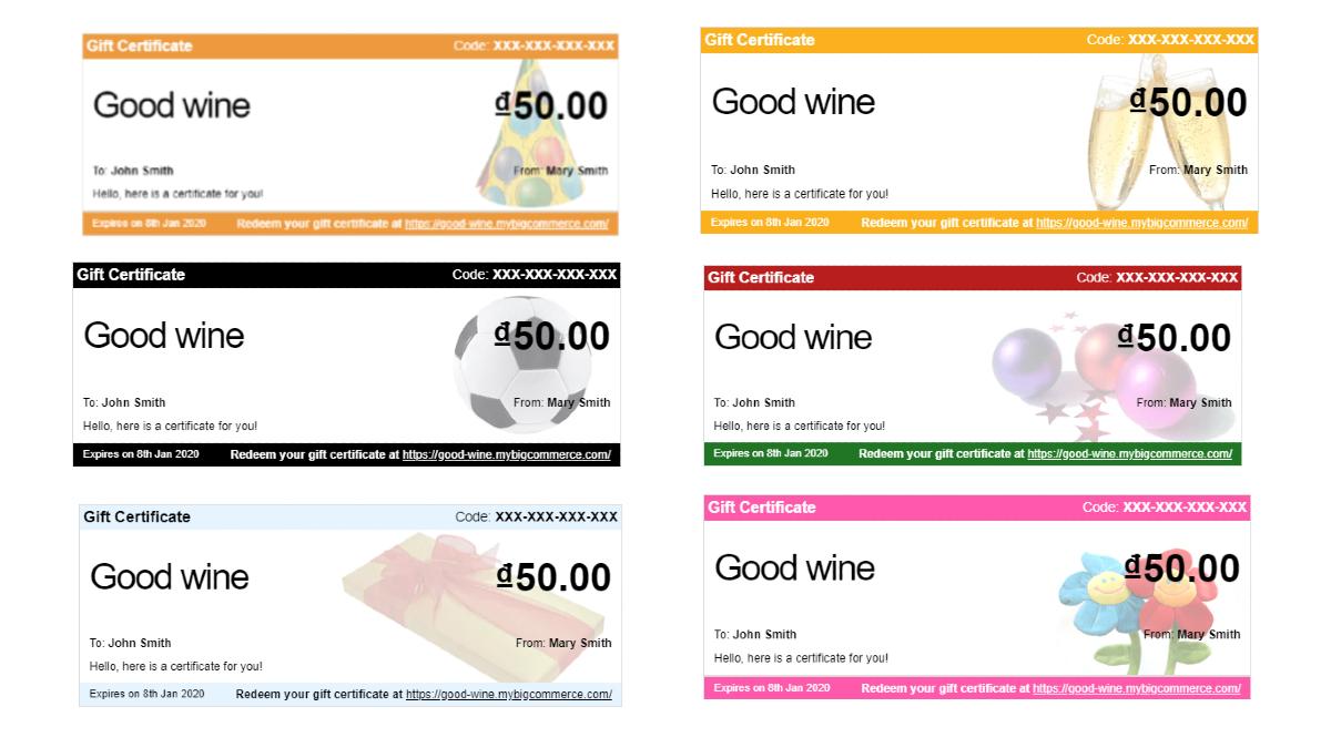 Default BigComerce gift certificate templates