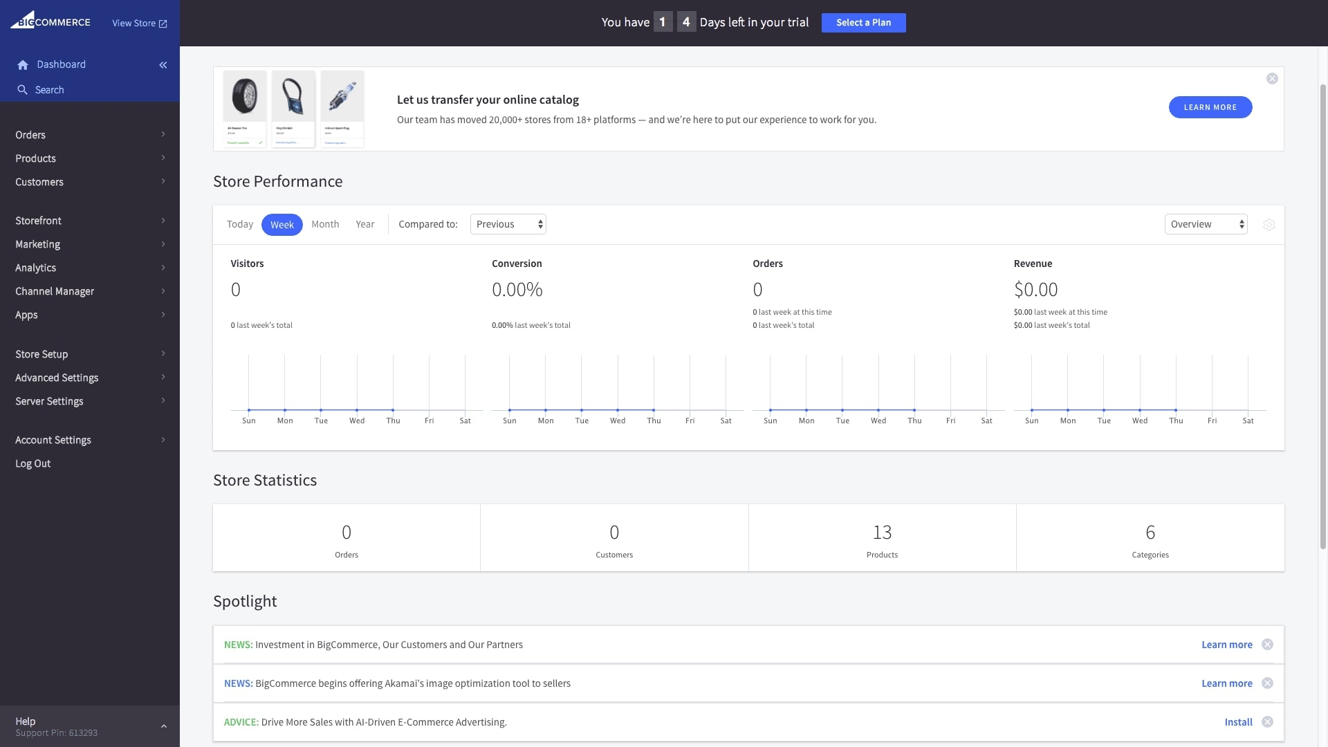 BigCommerce Enterprise Pricing dashboard