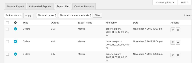Exporting orders manually