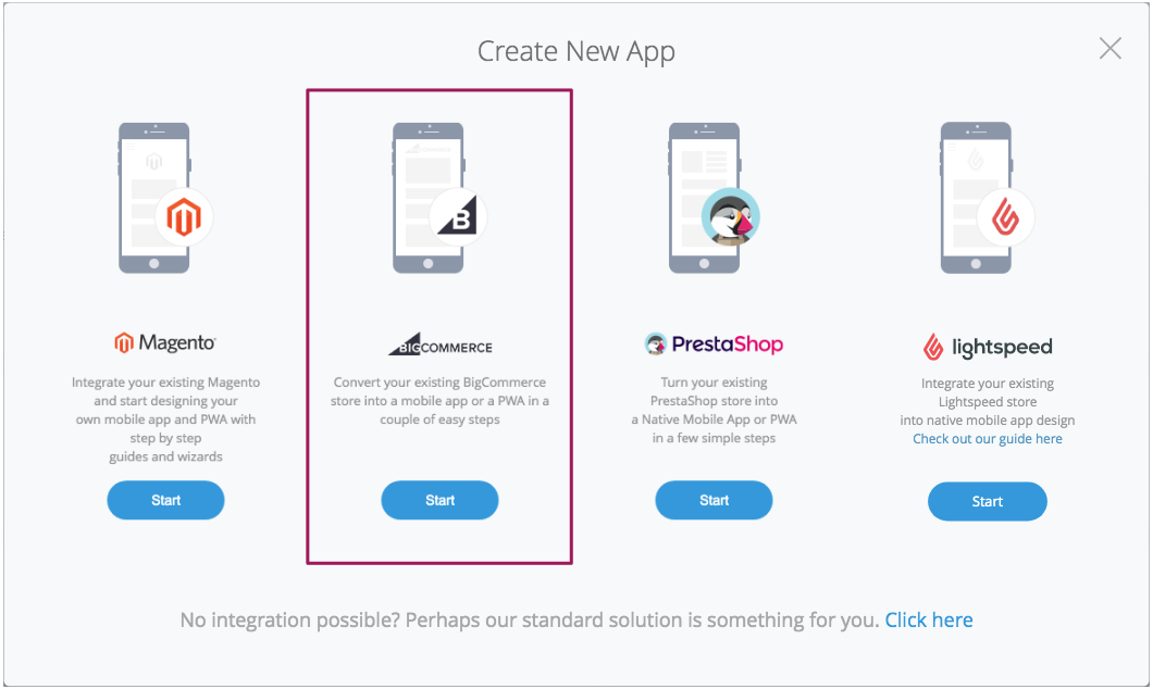 """Choose BigCommerce in """"New App"""" section"""