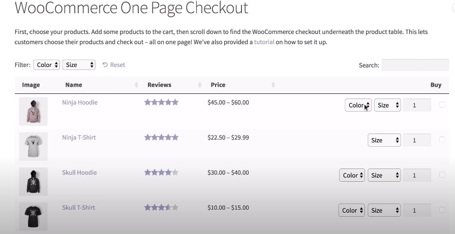 Add the checkout in the product table