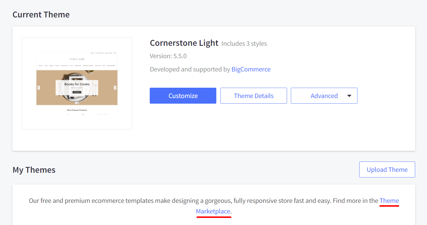 Click on the Theme Marketplace to change your theme
