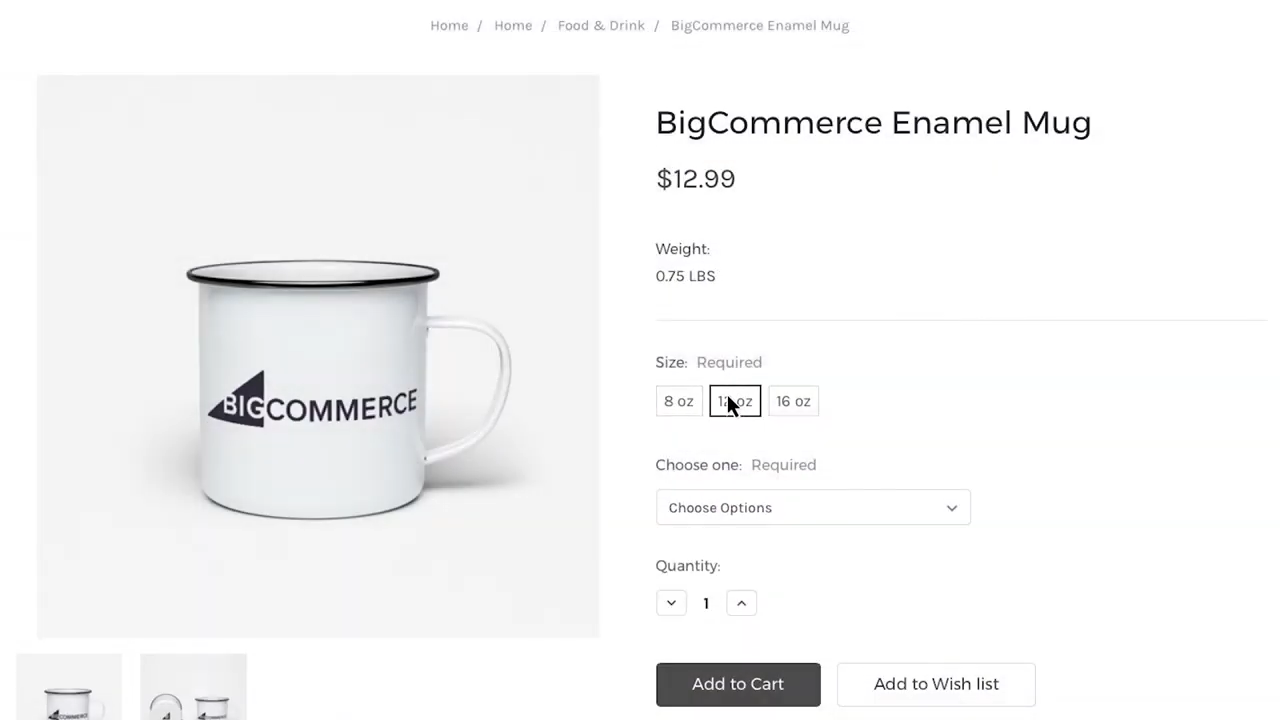 Example of different Mug sizes available for customers and their price