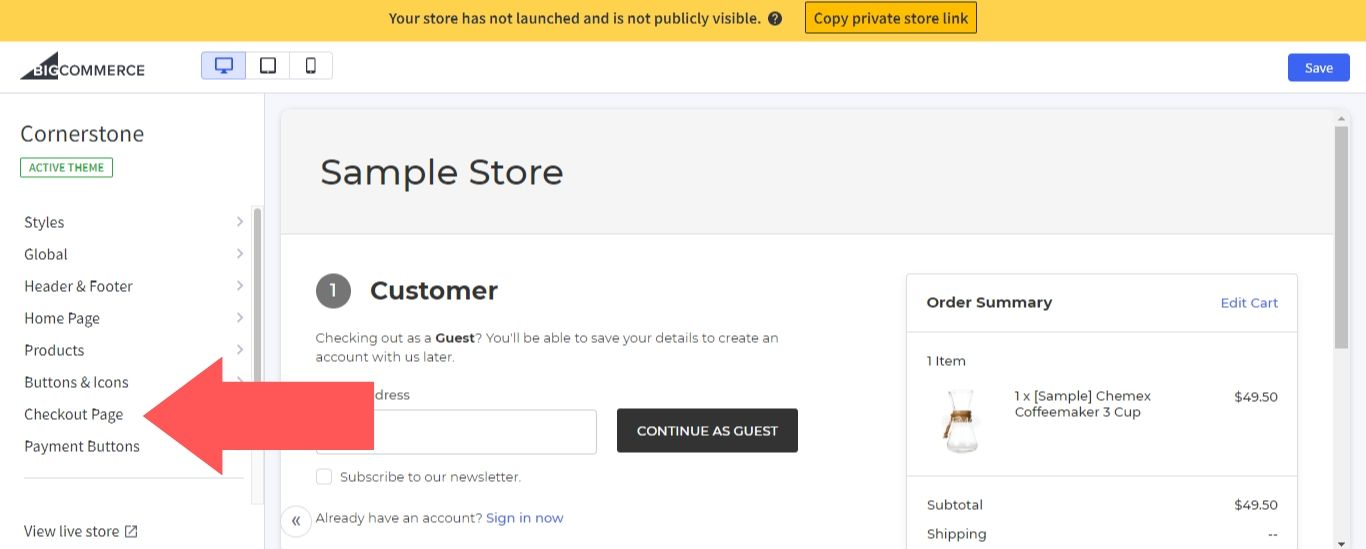 Setting Up BigCommerce One-Page Checkout Step 3