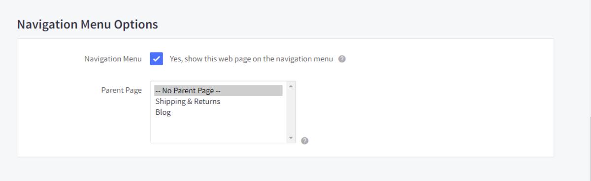 Navigation menu options