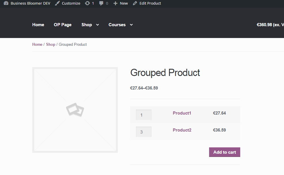 Add to Cart link in grouped products