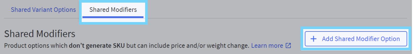 Set up Shared modifier option