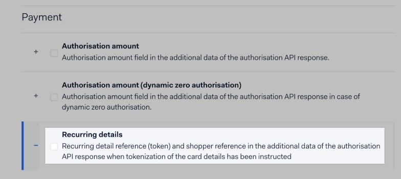 BigCommerce Adyen recurring details