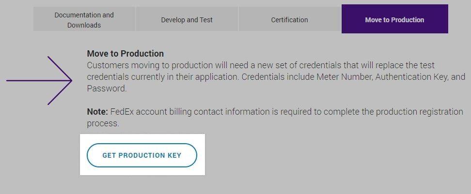 Collect your production key
