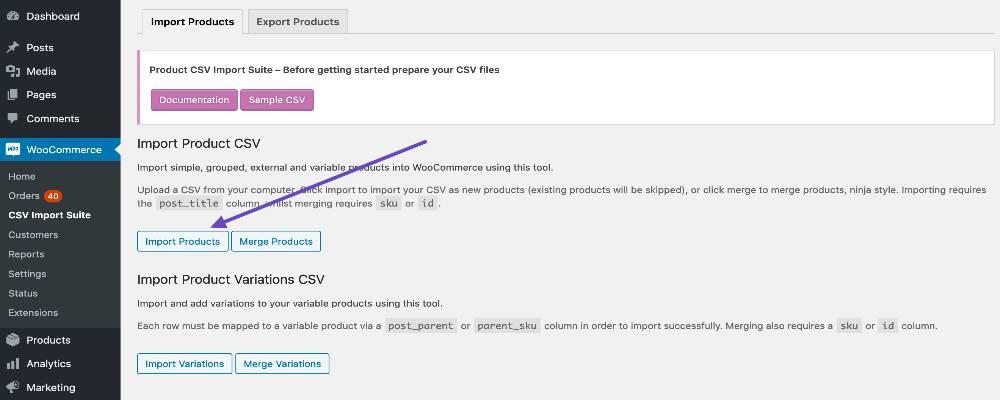 Import your Parent Products CSV