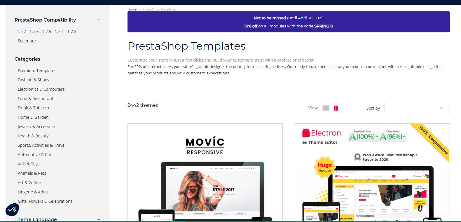 PrestaShop's High Quality and Responsive Themes