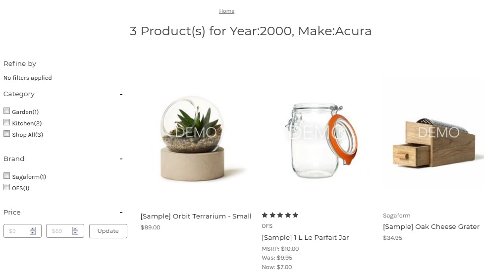 Product and Category page apply the same changes