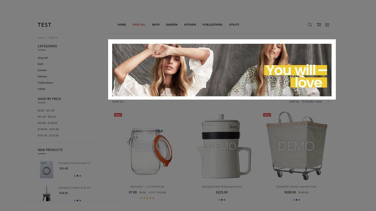 A preview of Carousel Design for your BigCommerce store