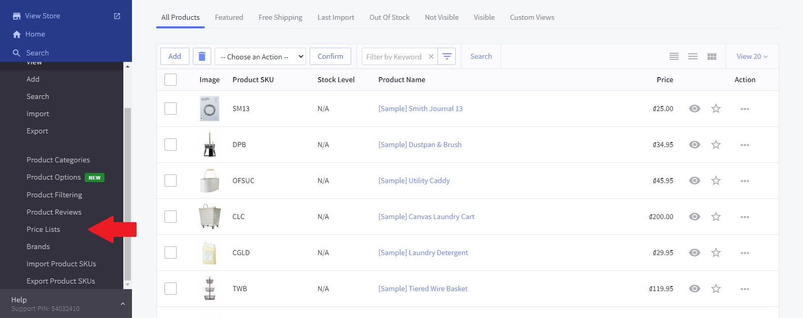 BigCommerce Price Lists page