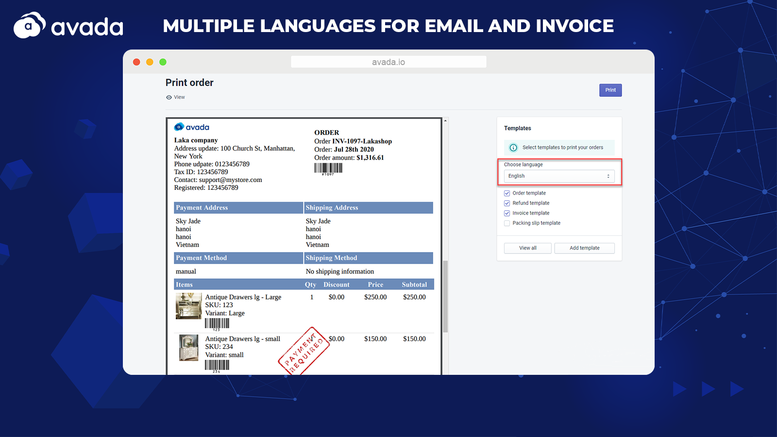Multiple languages for Email and Invoice document