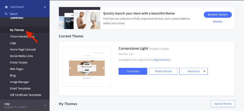 """Go to Storefront, then choose """"My Themes"""""""