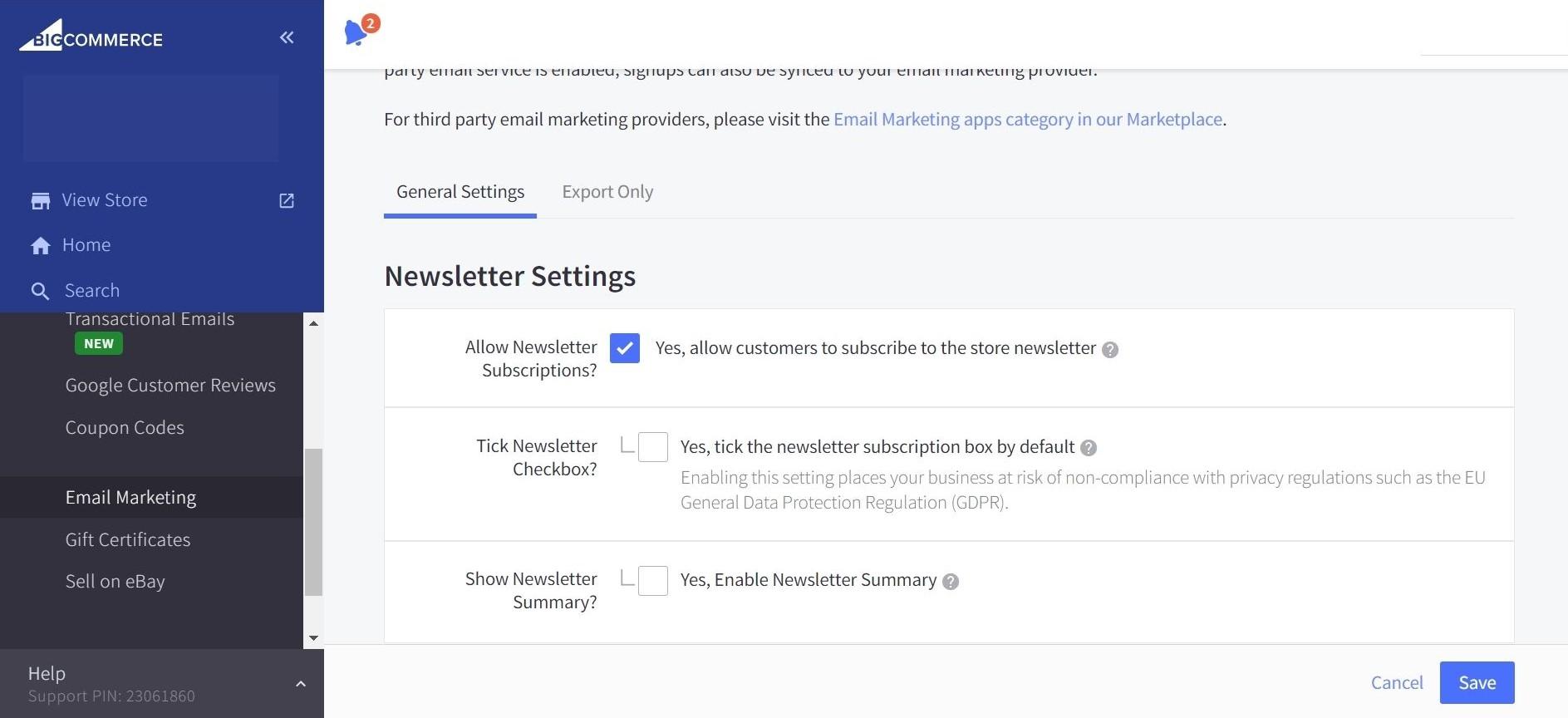 BigCommerce Newsletter setting