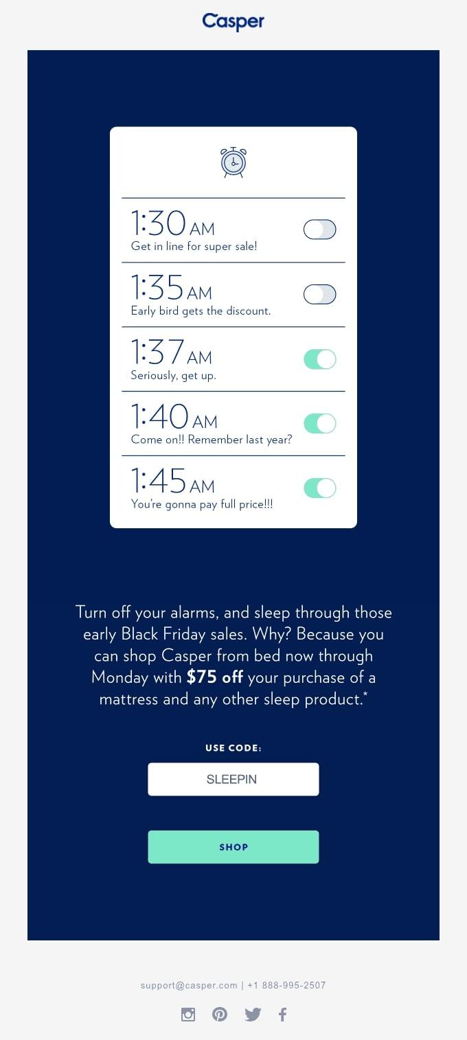 Casper's Snooze Through Black Friday Email