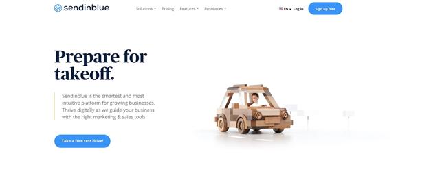 SendInBlue homepage preview