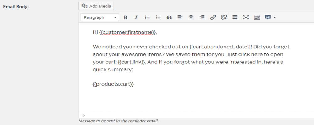An example of writing email body