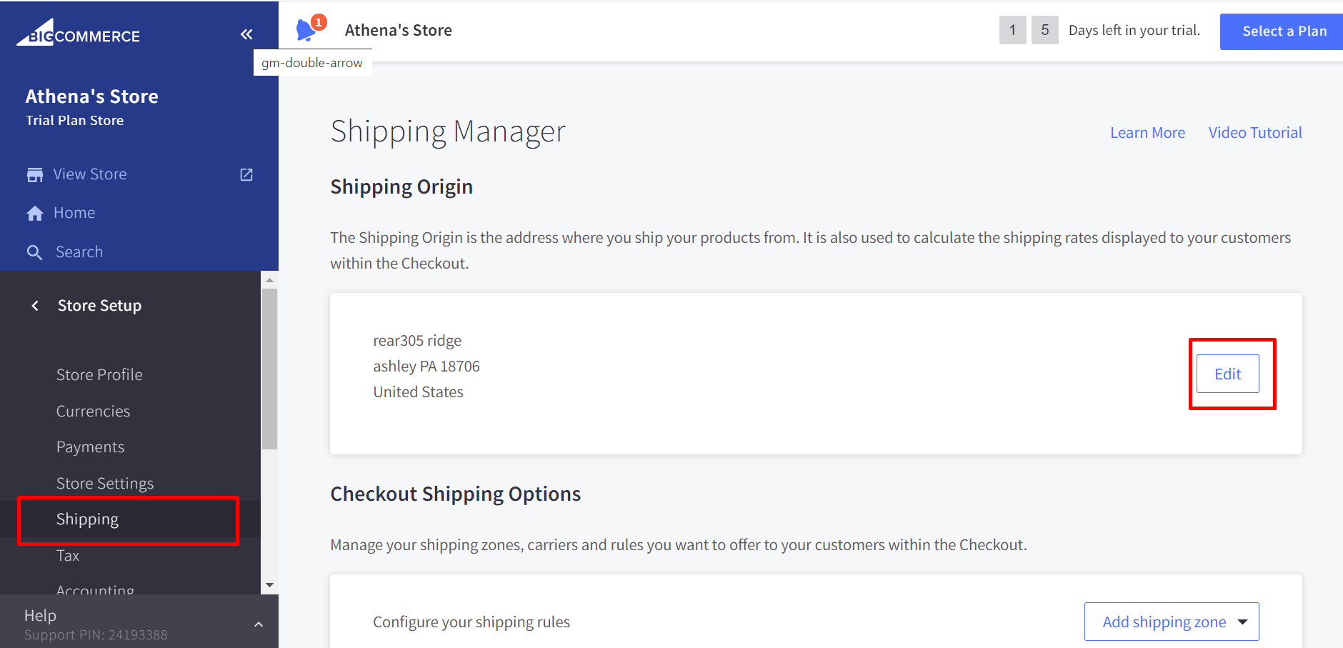 Go to Store Setup > Shipping