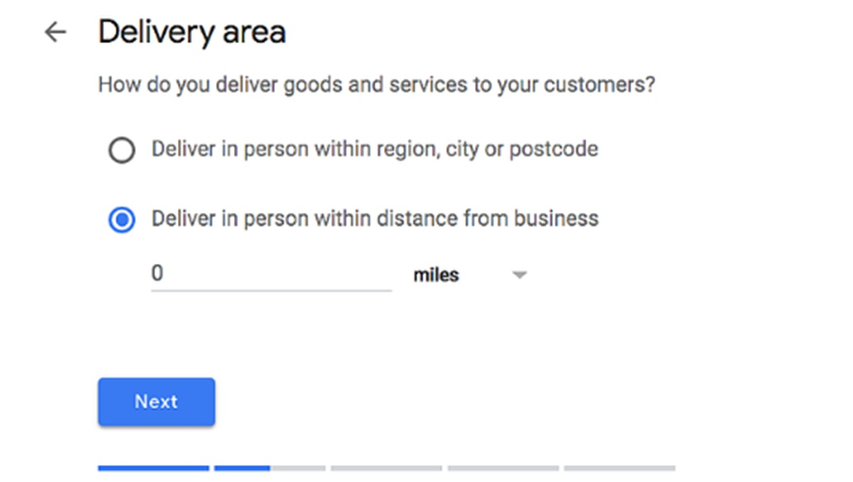 Choose the Delivery Area
