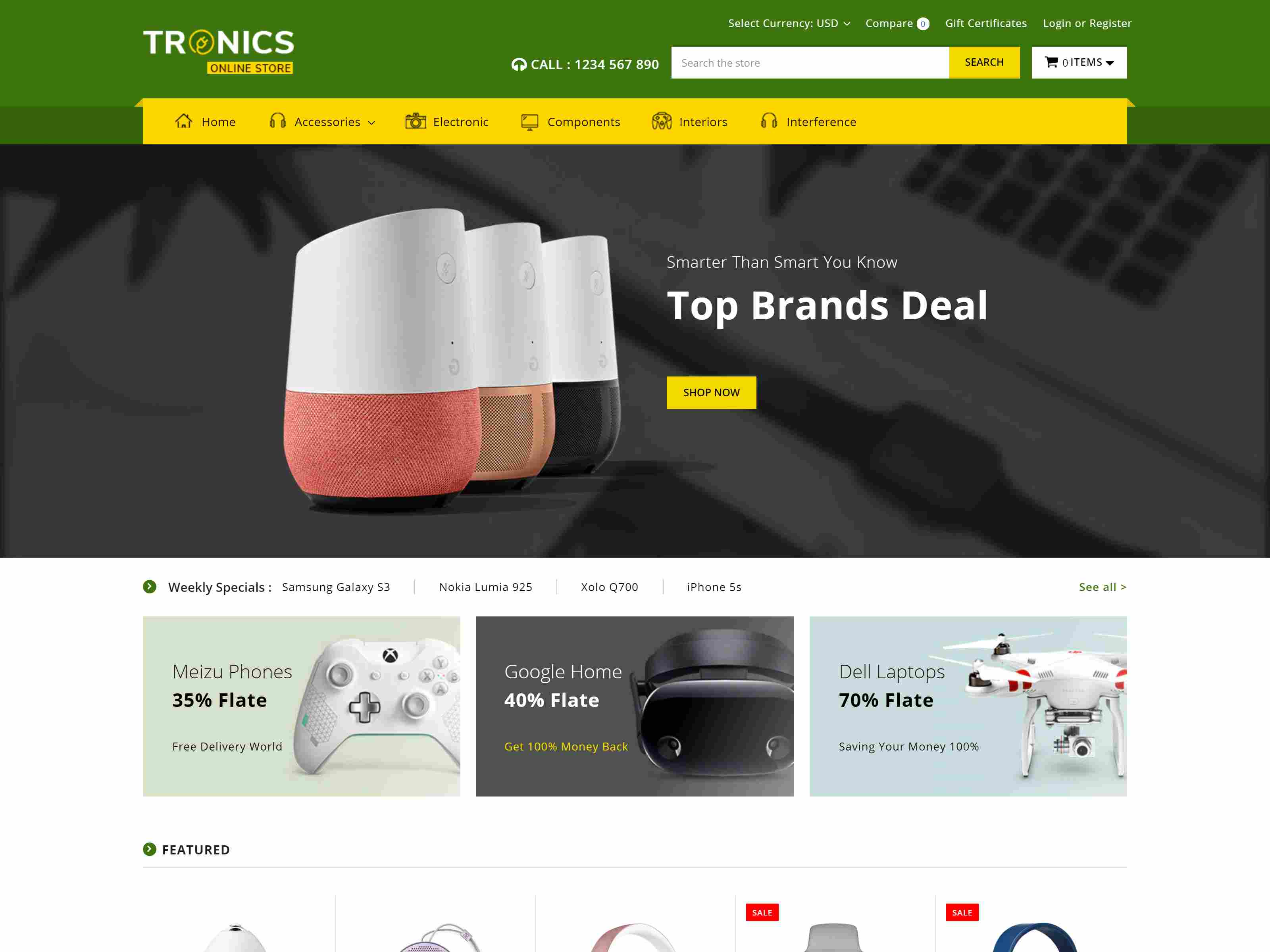 Electronics Supermarket Responsive BigCommerce Theme Source: Theme Daddy