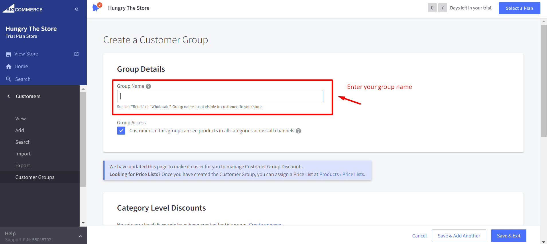 Name your customer group