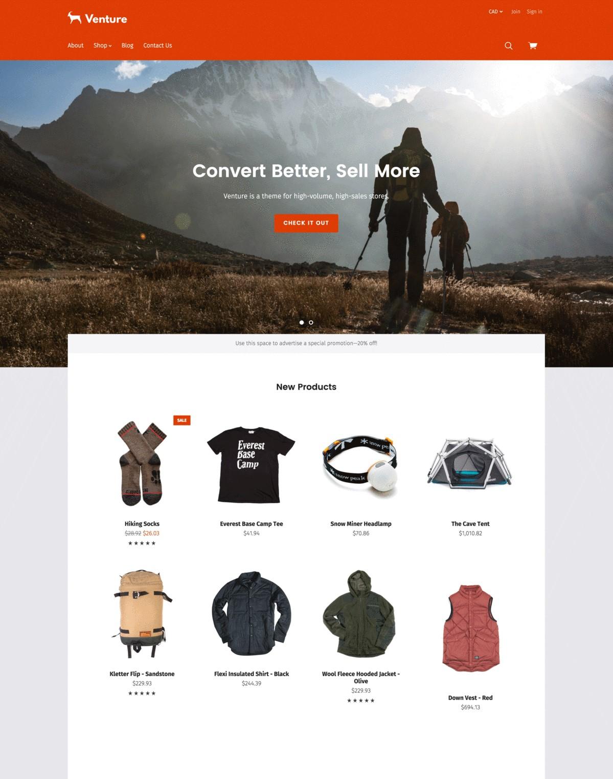Venture Bright BigCommerce Theme preview Source: Pixel Union