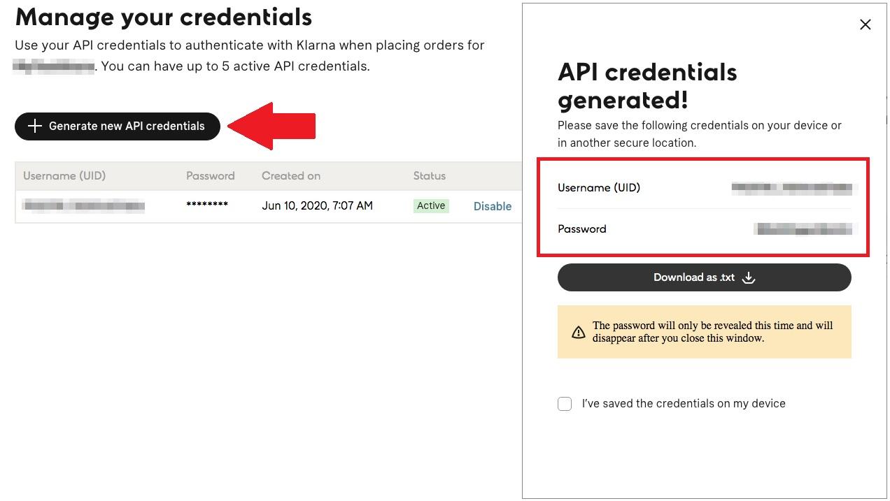 Klarna generating new API credentials