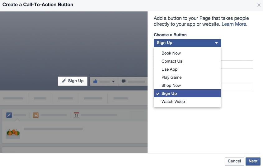 Add a call-to-action to your Facebook business page