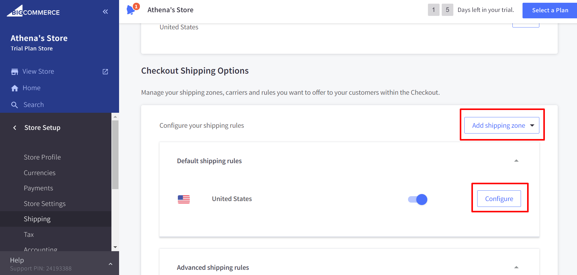 Click Edit or Configure next to a shipping zone > Shipping